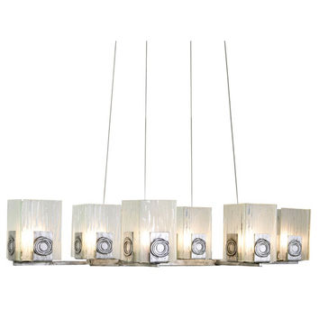 Varaluz 182N06 Polar Six-Light Oblong Chandelier in Blackened Silver with Ice Crystal Recycled Glass