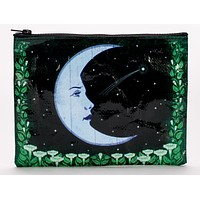 Face Moon Black and Green Zipper Pouch in Recycled Material