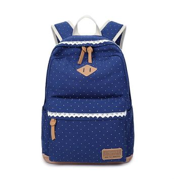 2017 new Printed canvas bag backpack Middle school student bag Dot and  Lace Women's backpack H1090