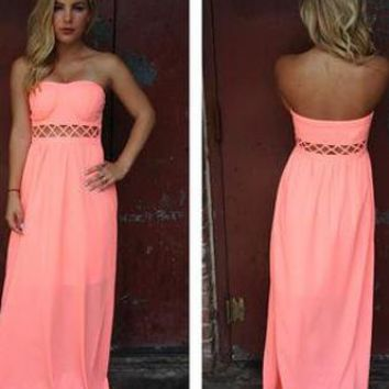 Neon Coral Strapless Maxi Dress with Open Weave Detail