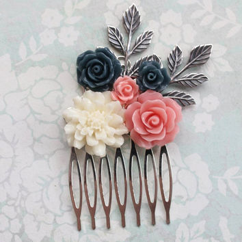 Floral Bridal Hair Comb Coral Pink Navy Blue Rose Silver Branch Cream Chrysanthemum Wedding Hair Accessories Bridesmaid Gifts Maid of Honor