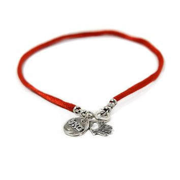 Women's Handmade Hamsa Red Silk String Sterling Silver Charm Bracelet for Success and Abundance
