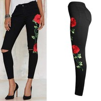 Floral Embroidered Denim Ripped Pants Stretch Jeans