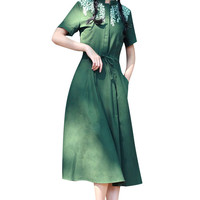 Green Elastic Drawstring Waist Short Sleeve Midi Dress