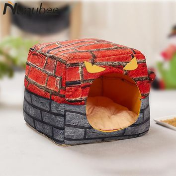 Nunubee Little Devil Dog House Nest With Mat Foldable Pet Dog Bed Cat Puppy Dog Kennel for Small Large Dogs Beds Mat Cushion S L