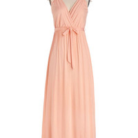 ModCloth Pastel Long Cap Sleeves Maxi Tango with Me Maxi Dress in Peach