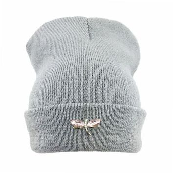 DCCKWQA Dragonfly Crystal Accessory Beanie Hat For Women, Hip Hop Cute Hats Winter Caps Female Beanies bonnet femme gorros Sport gorras
