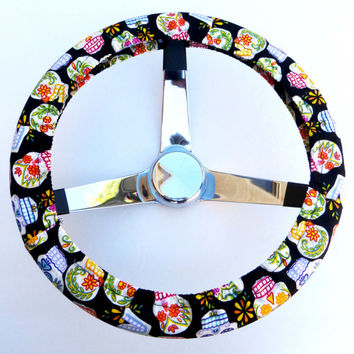 Mini Calaveras Sugar Skull Day of the Dead Steering Wheel Cover