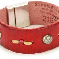 "Streets Ahead 1"" Red Vintage Leather with Silver-Tone Studs Cuff Bracelet: Jewelry: Amazon.com"