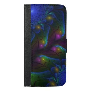 Colorful Luminous Abstract Modern Fractal Art iPhone 6/6s Plus Wallet Case