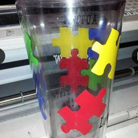 Autism Tumbler - Puzzle Piece Cup - Personalized 16 Oz Acrylic Tumbler with Acrylic Straw