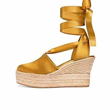 Tory Burch Elisa Wedge Espadrille, Golden Fry