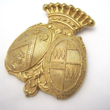 Vintage Miriam Haskell Brooch - Gold Crown and Shields - 1940s Costume Jewelry