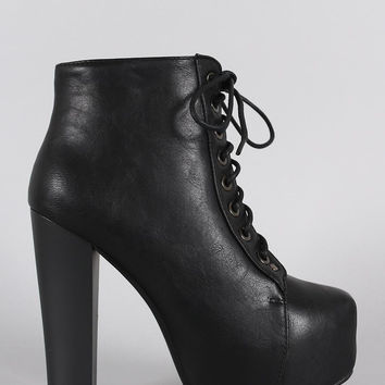 Vegan Leather Platform Chunky Heel Lace Up Booties
