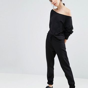 ASOS PETITE LOUNGE Off Shoulder Raw Edge Sweat at asos.com