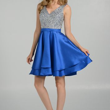 Beaded sequins bodice royal blue homecoming dress