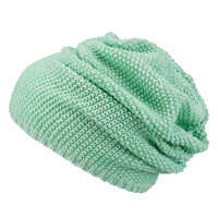 mint creme marled knit slouchy beanie