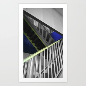 Paris stairs painter black and white with color Art Print by Mr Splash