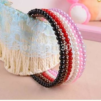 TS031 Fashion Candy Colors imitation Pearl Barrette Hair Bands Accessories Head Jewelry Wedding Hairband For Women