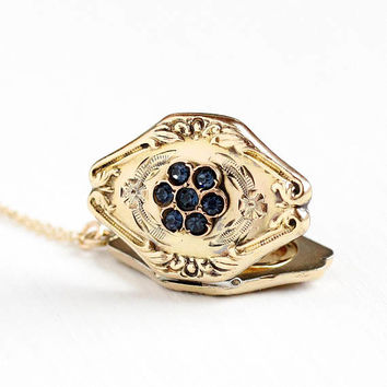Vintage Art Deco Blue Rhinestone Flower Locket Pendant Necklace - Late 1930s Early 1940s 10k Gold Filled Floral Paste Stone Jewelry
