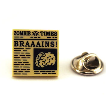 Zombie Times, Brains, Tie Pin, Tie Tack Pin, Men's Tie Tacks, Tie Tac, Silver Tie Clip, Tie Clips Men, Wedding Clip, Tie Tack