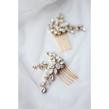 Crystal and Opal Hair Pin Jeweled Mini Clip ONE PIN