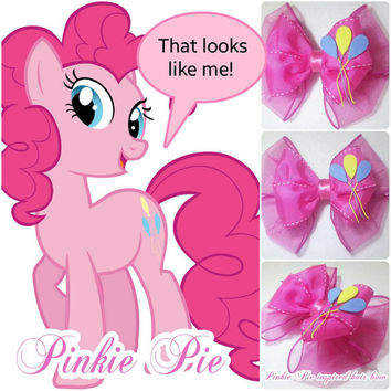 Hair Bow - My Little Pony Pinkie Pie Inspired