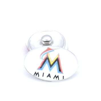 Snap Button 18mmX25mm MLB Florida Marlins Charms Snap Bracelet for Women Men Baseball Fans Gift Paty Birthday Fashion 2017