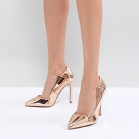Lost Ink Rose Gold Paris Cut Out Court Shoes at asos.com