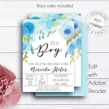 Whimsical Blue Baby Shower, It's a Boy,  Baby Boy, Editable, Watercolour, Printable Invitation, Floral Baby Shower, Editable Template,