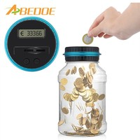 Electronic Digital Counting Coin Bank Money Saving Box Jar LCD Display Counter Piggy Bank