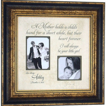 Mother of the Groom Gift, Bride, Wedding Gift, Sign, Parents Wedding Gift, picture frame, A MOTHER HOLDS hand, Bridal Shower, 16 X 16