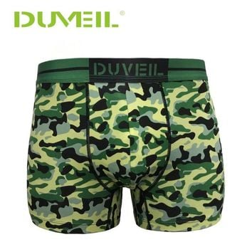 DUVEIL 2Pieces/Lot Men Camouflage Printed Red/Green Underpants Boxers Sports Underwear Sexy Mens Underpants Outdoor Knicker