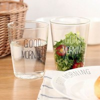 1pcs Glass Cups 400ml Brief Style Good Morning Glass Breakfast Cups Glassware Lovely Cups & Mugs for Milk Smoothie Drinkware