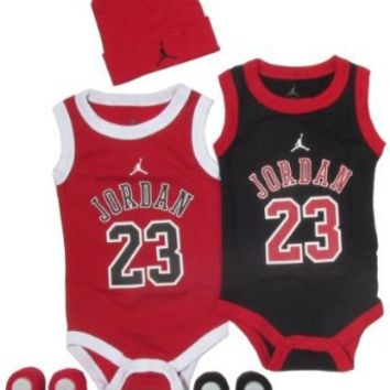 Jordan Baby Double 23 Jersey Beanie and Bootie Set for Baby Boys and Girls (One Size 0-6 Months) Black/ Red, 0-6 Months