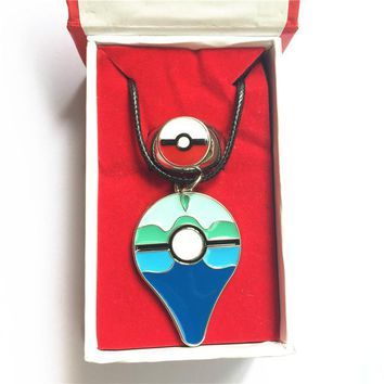 2 pcs per lot Pokemon Go Dive ball Ring necklace set Alloy jewelry badge pins set in gift box Cosplay Collection Gift