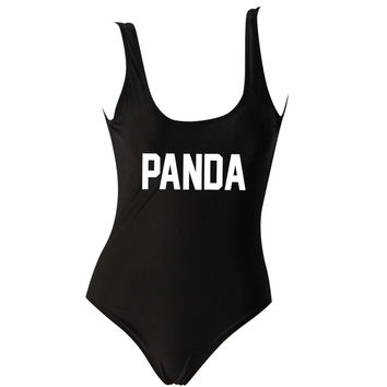 Panda Black One Piece Swimsuit