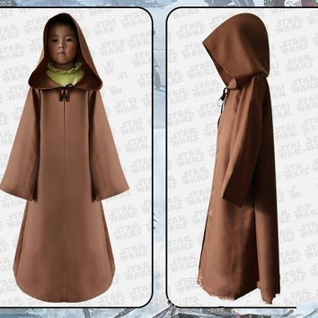 Cool Star Wars Darth Vader Jedi Knight Kids Cloak Robe Cosplay Hooded Cape Children's Halloween Carnival Party Costume AccessoriesAT_93_12