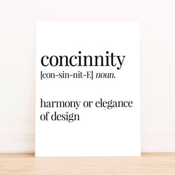 Printable Art Concinnity Definition Typography Poster Home Decor Bedroom Decor