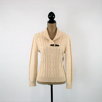 Womens Pullover Sweater Medium Cream Beige Aran Cable Knit Cotton Sweater Winter Sweater Cream Sweater Beige Sweater Womens Clothing