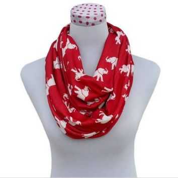 Fashion Red Elephant Infinity Scarf