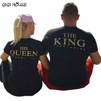 Couple Clothes King Queen Korean Clothes Short Sleeve Casual Tops Printing Letter Tops Couple Shirt Camisetas Mujer#B8