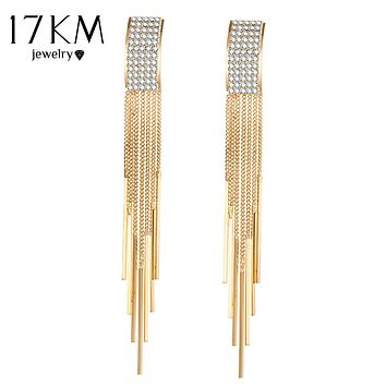 17KM Brand New Gold Color Long Crystal Tassel Dangle Earrings for Women Bar Wedding Drop Earing Fashion Jewelry Gifts