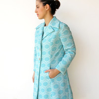Vintage 1960s Royal Aquamarine Dress and Coat Set / Size L