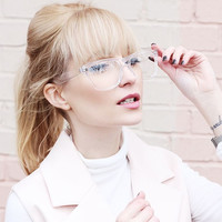 VINTAGE 60s RETRO Style CLEAR LENS EYE GLASSES Crystal Transparent Fashion Frame