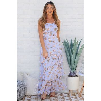 Love Yours Maxi Dress (Lilac/White/Peach)
