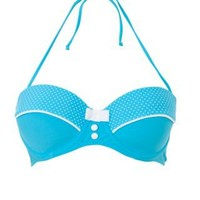 New Look Mobile | Kelly Brook Turquoise Polka Dot Underwired Bikini Top