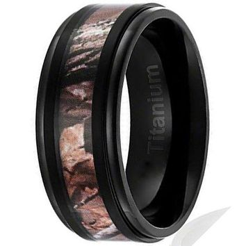 9MM Titanium Ring Wedding Band Black Plated with Camouflage Inlay Stepped Edges