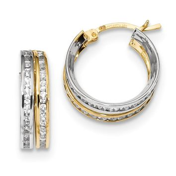 14k Yellow and White Gold Two-tone CZ 5.50mm Double Hoop Earrings Length 16.3mm