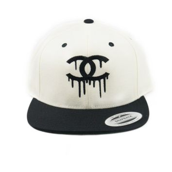 Dripping Chanel CC Snapback Black & Off White Hat